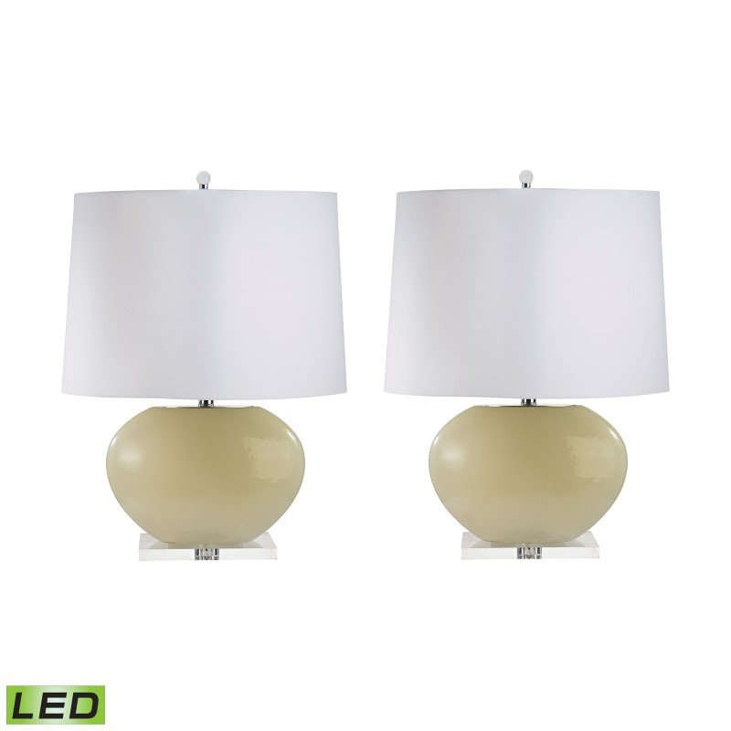Dimond Lighting Blown Glass Oval LED Table Lamps in Cream - Set of 2 ( 307C/S2-LED)