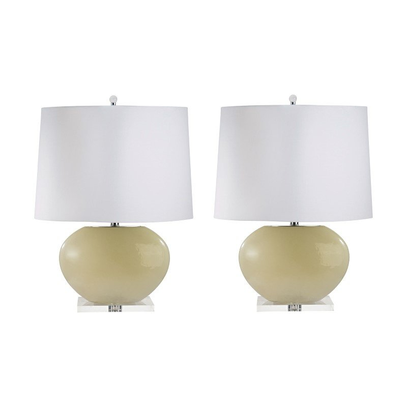 Dimond Lighting Blown Glass Oval Table Lamps in Cream - Set of 2 ( 307C/S2)