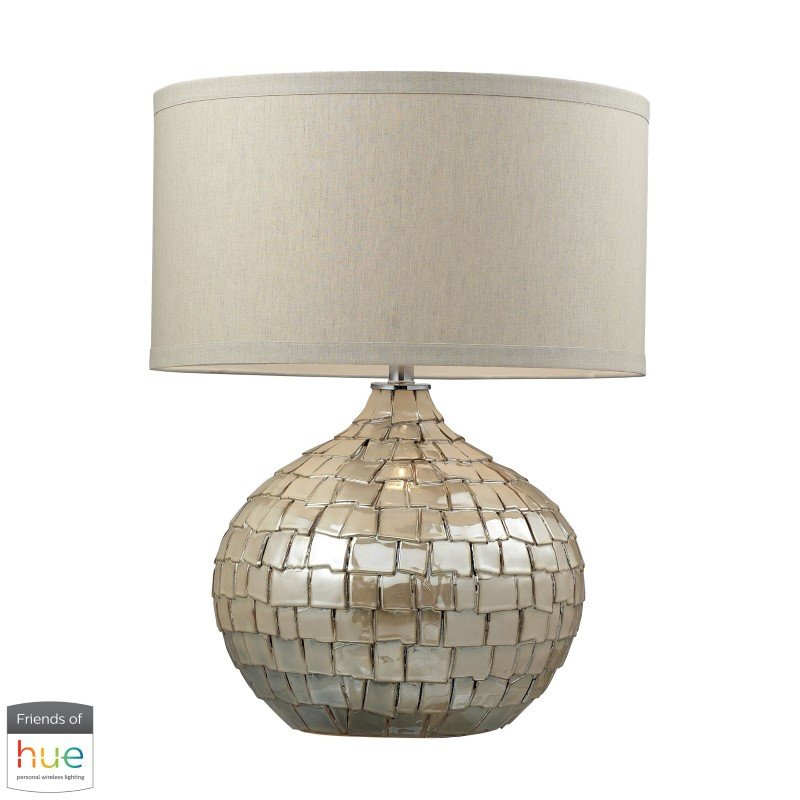 Dimond Lighting Canaan Ceramic Table Lamp in Cream Pearl with Beige Linen Shade with Philips Hue LED Bulb/Bridge (D2264-HUE-B)