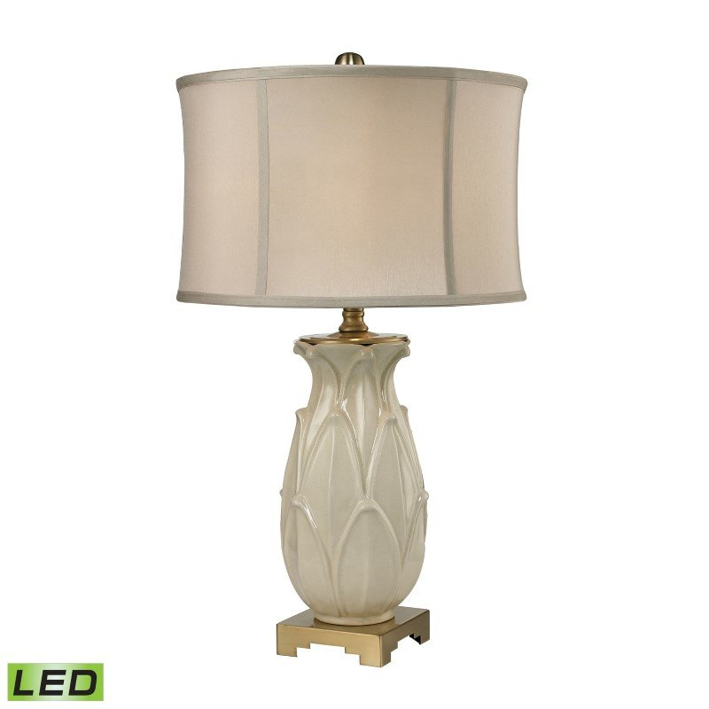 Dimond Lighting Ceramic Leaf LED Table Lamp in Cream Crackle And Antique Brass (D2598-LED)