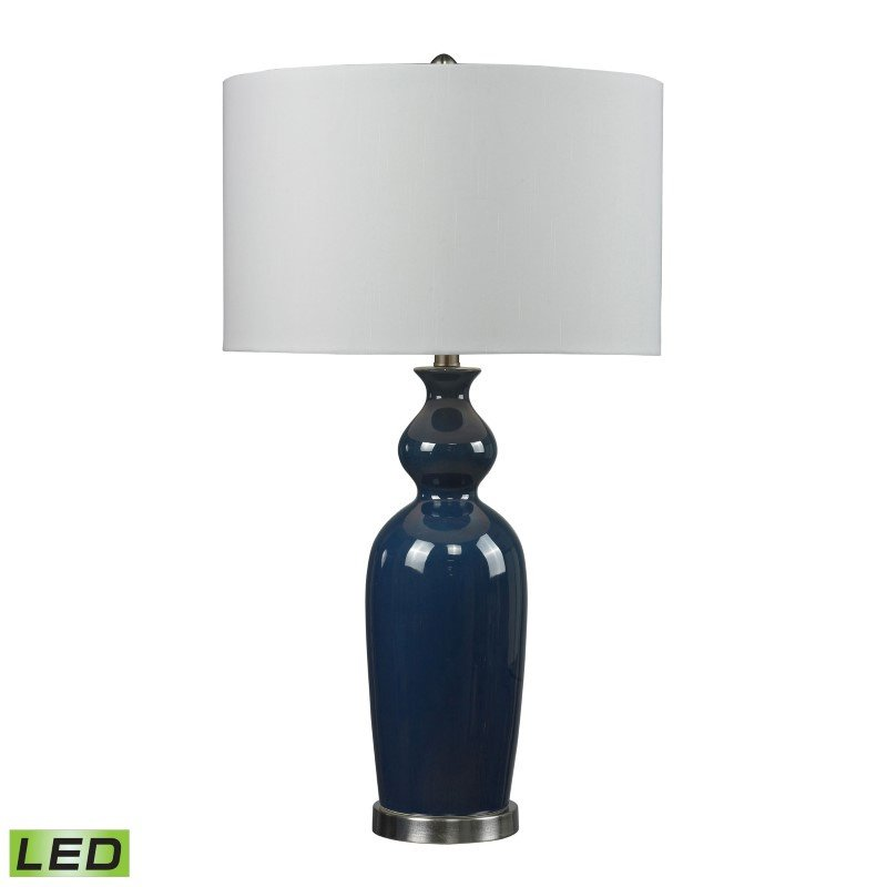 Dimond Lighting Ceramic LED Table Lamp in Blue With Pure White Shade (D249B-LED)