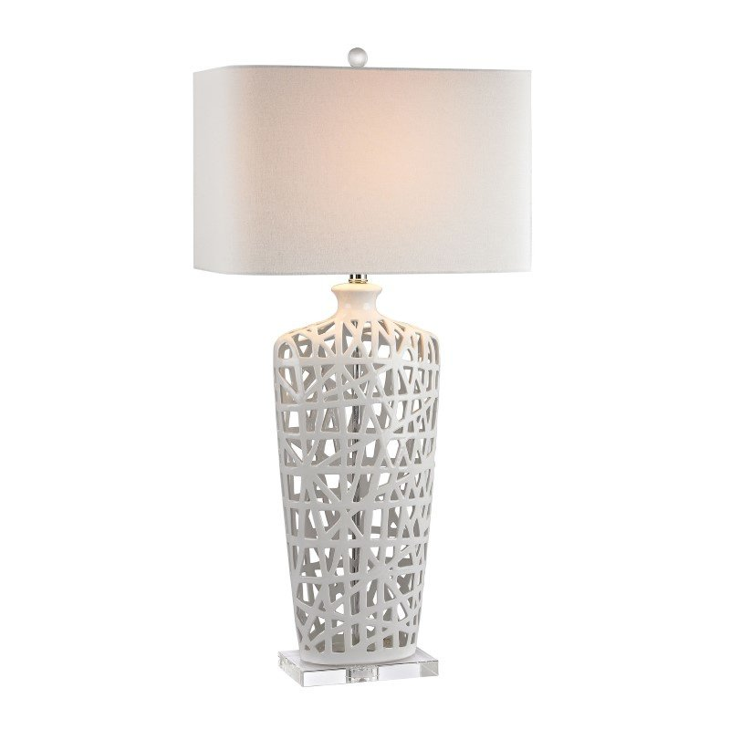 Dimond Lighting Ceramic Table Lamp in Gloss White And Crystal (D2637)