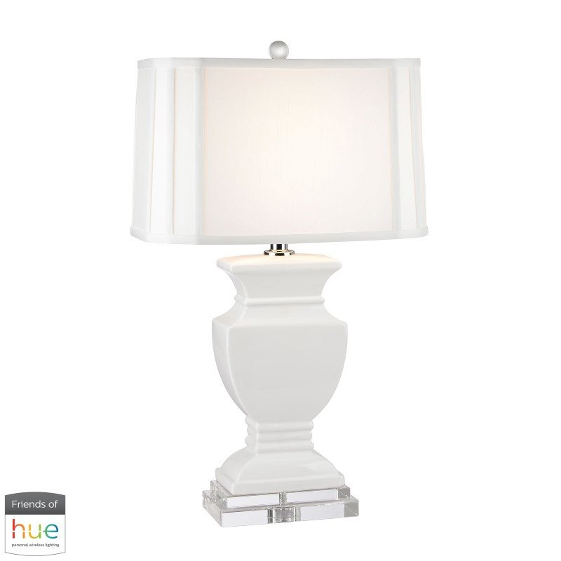 Dimond Lighting Ceramic Table Lamp in Gloss White and Crystal with Philips Hue LED Bulb/Bridge (D2634-HUE-B)