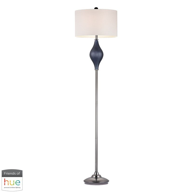 Dimond Lighting Chester Glass Floor Lamp in Navy and Black Nickel with Philips Hue LED Bulb/Bridge (D2523-HUE-B)