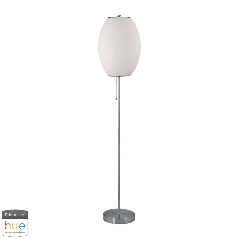 Dimond Lighting Cigar Floor Lamp in Satin Nickel and White with Philips Hue LED Bulb/Dimmer (403-HUE-D)