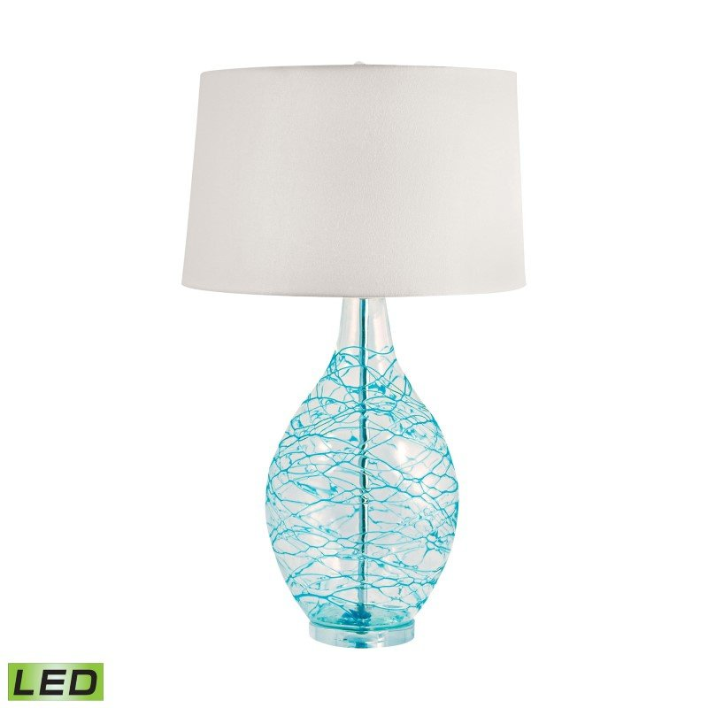 Dimond Lighting Clear Glass Urn LED Table Lamp with Hand Applied Blue Coils ( 300B-LED)