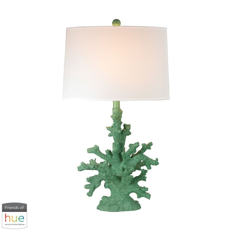 Dimond Lighting Coral Table Lamp in Green with Philips Hue LED Bulb/Dimmer (D2789G-HUE-D)