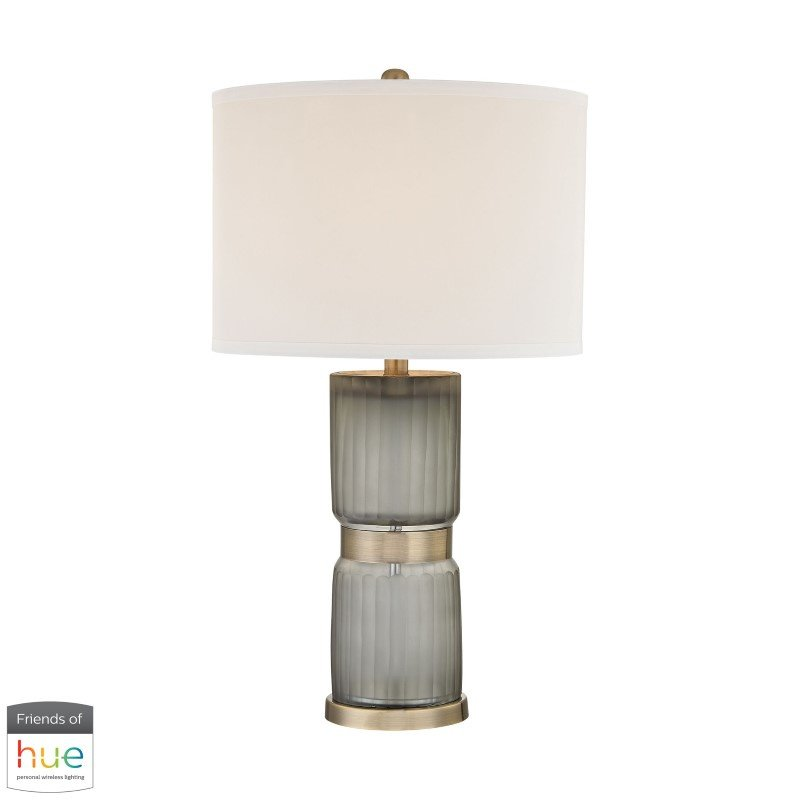 Dimond Lighting Cotillion Table Lamp in Grey and Antique Brass with Philips Hue LED Bulb/Dimmer (D2911-HUE-D)