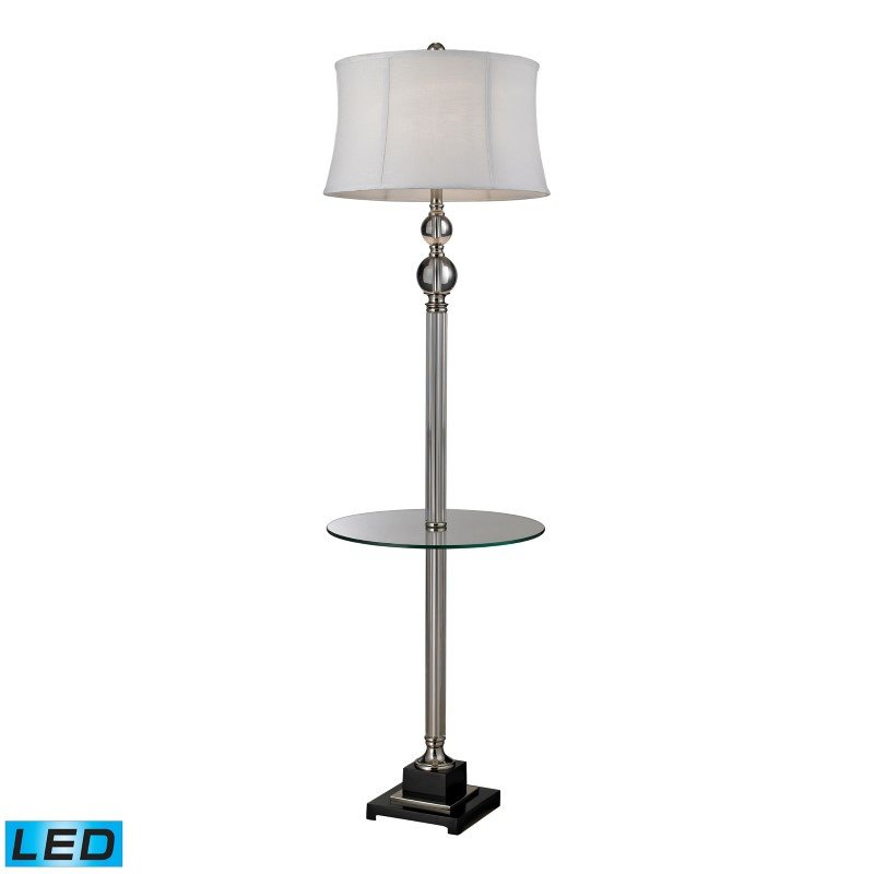 Dimond Lighting Crystal LED Floor Lamp With Glass Tray And Pure White Textured Linen Shade (D2310-LED)