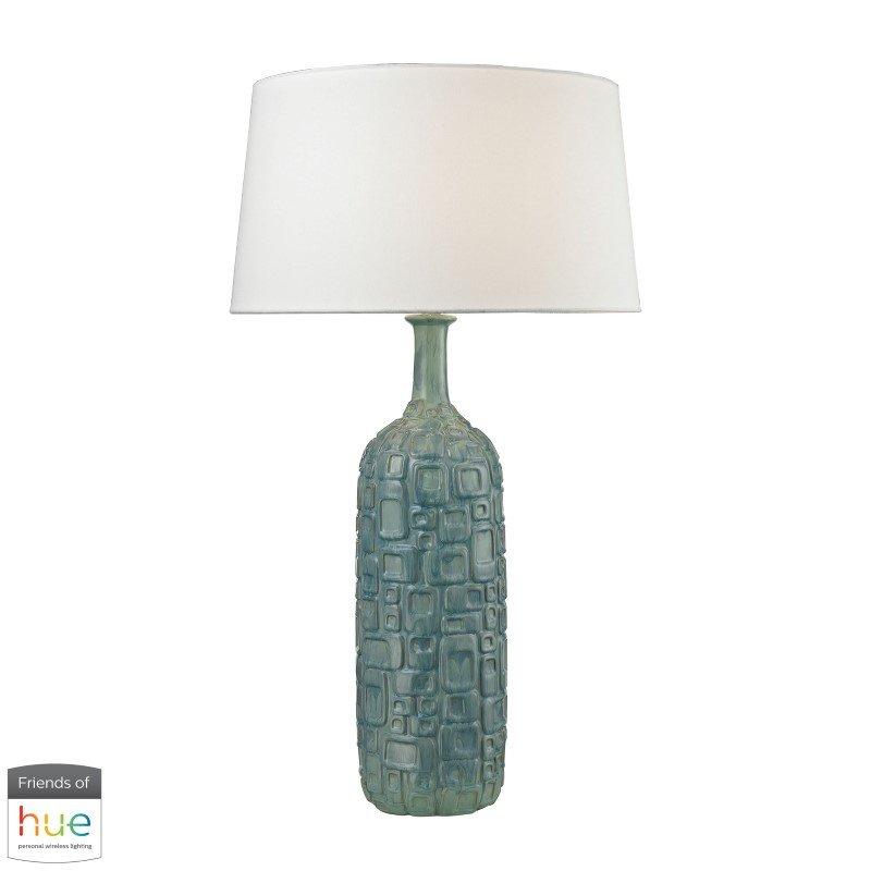 Dimond Lighting Cubist Ceramic Bottle Lamp in Blue with Philips Hue LED Bulb/Bridge (D2612B-HUE-B)