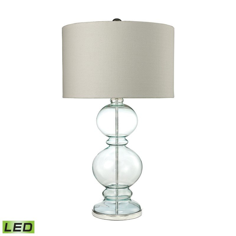 Dimond Lighting Curvy Glass LED Table Lamp in Light Blue With Textured Linen Shade (D2556-LED)