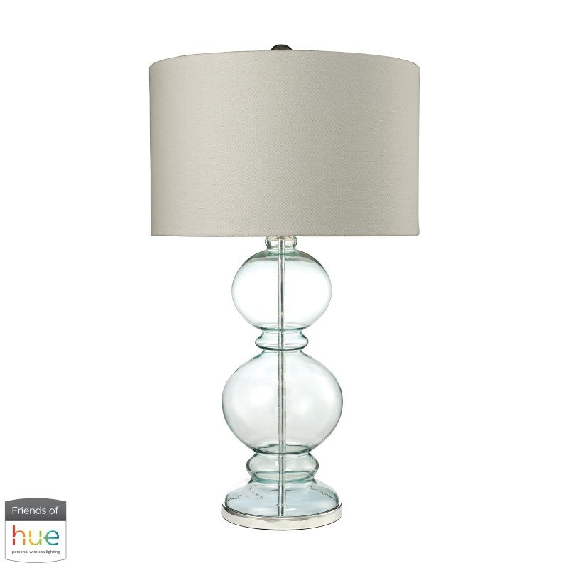 Dimond Lighting Curvy Glass Table Lamp in Light Blue with Textured Linen Shade with Philips Hue LED Bulb/Dimmer (D2556-HUE-D)