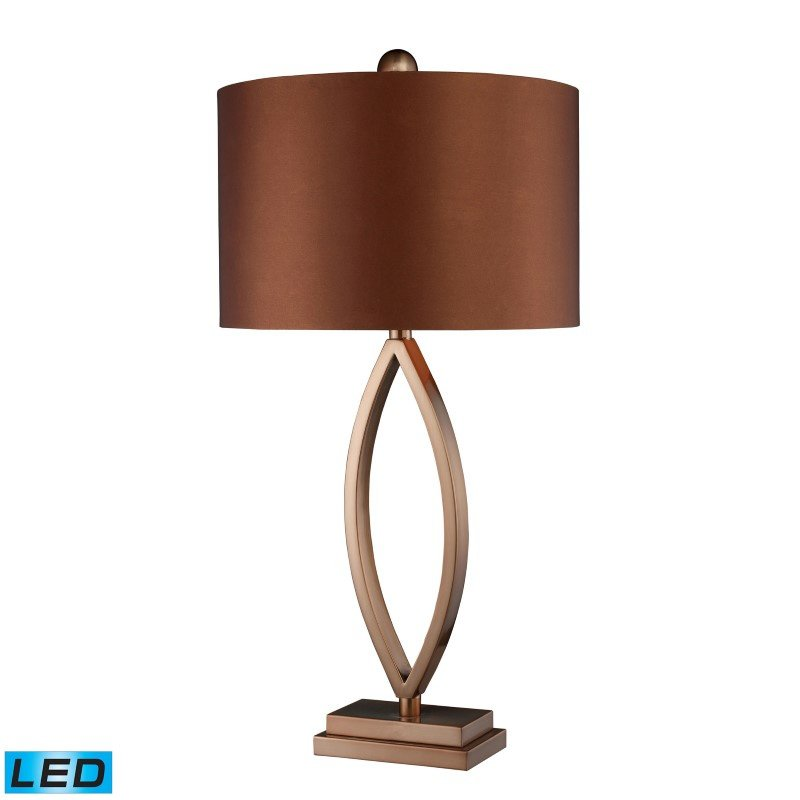 Dimond Lighting Dale LED Table Lamp In Coffee Plating With Copper Faux Silk Shade (D1712-LED)