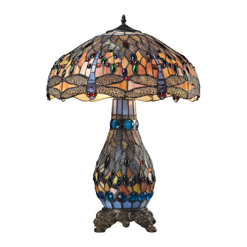 Dimond Lighting Dragonfly Tiffany Glass Table Lamp in Tiffany Bronze (72079-3)