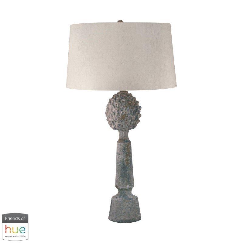 Dimond Lighting Earthenware Pineapple Top Ceramic Table Lamp with Philips Hue LED Bulb/Bridge (276-HUE-B)
