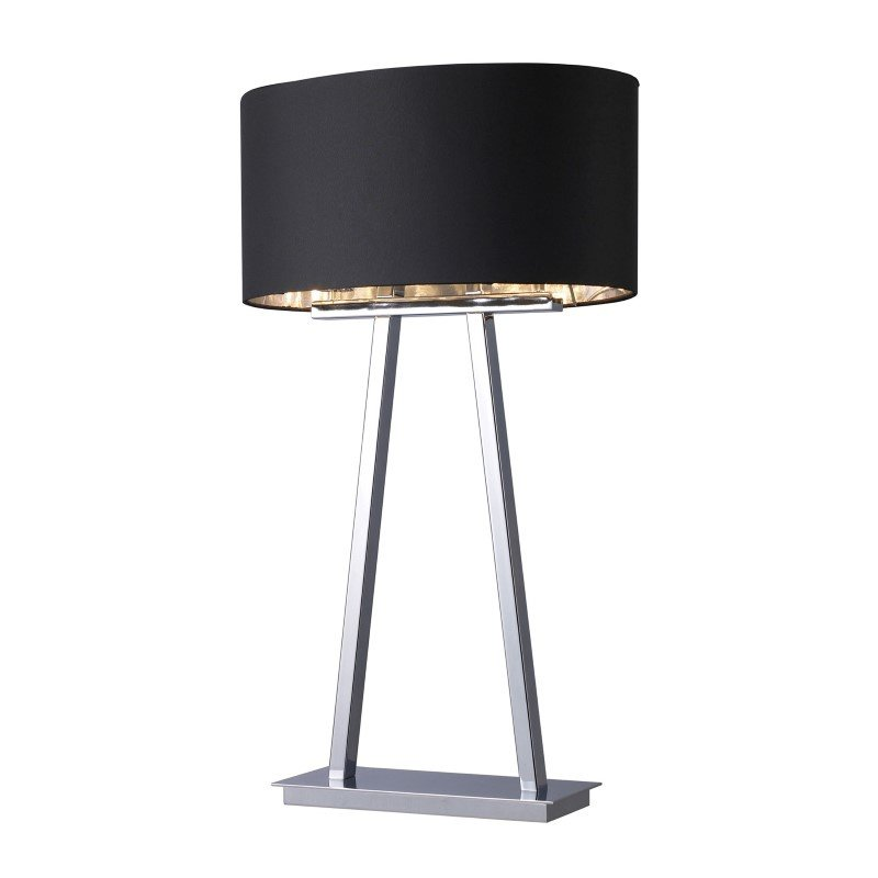 Dimond Lighting Empire 2 Light Table Lamp In Chrome With Black Shade (D1479)