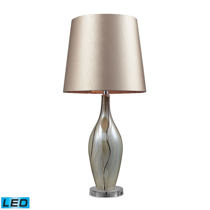 Dimond Lighting Etna Ceramic LED Table Lamp In Painted Ribbon Finish With Champagne Shade (D2257-LED)