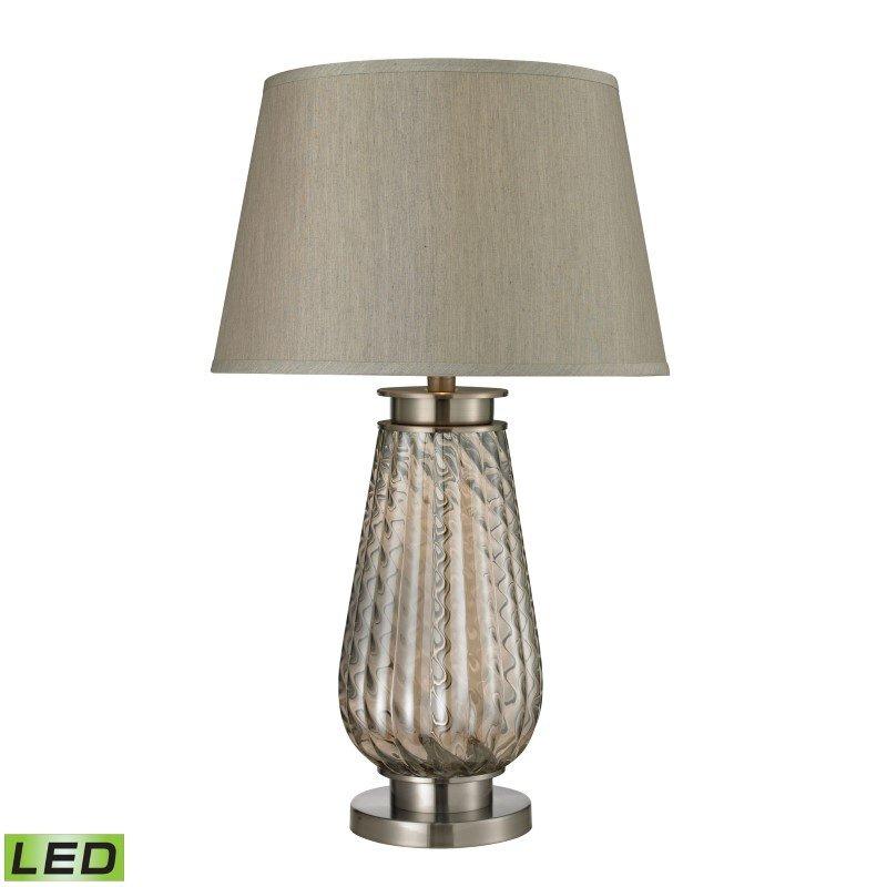 Dimond Lighting Fallhurst Barley Twist Smoked Glass LED Table Lamp in Brushed Steel (D2438-LED)