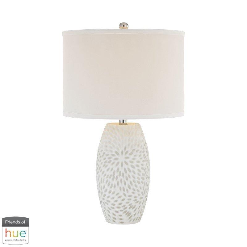 Dimond Lighting Farrah Table Lamp in White with Philips Hue LED Bulb/Dimmer (D2910-HUE-D)