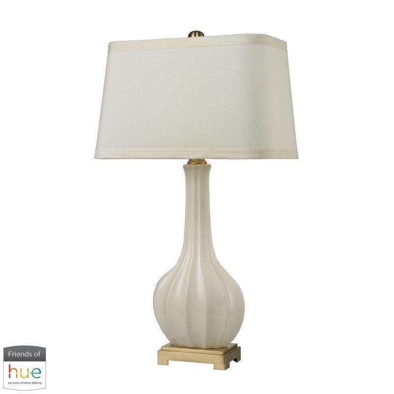 Dimond Lighting Fluted Ceramic Table Lamp in White Glaze with Philips Hue LED Bulb/Bridge (D2596-HUE-B)