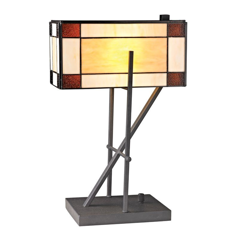 Dimond Lighting Fort William Tiffany Glass Table Lamp in Matte Black (D2540)