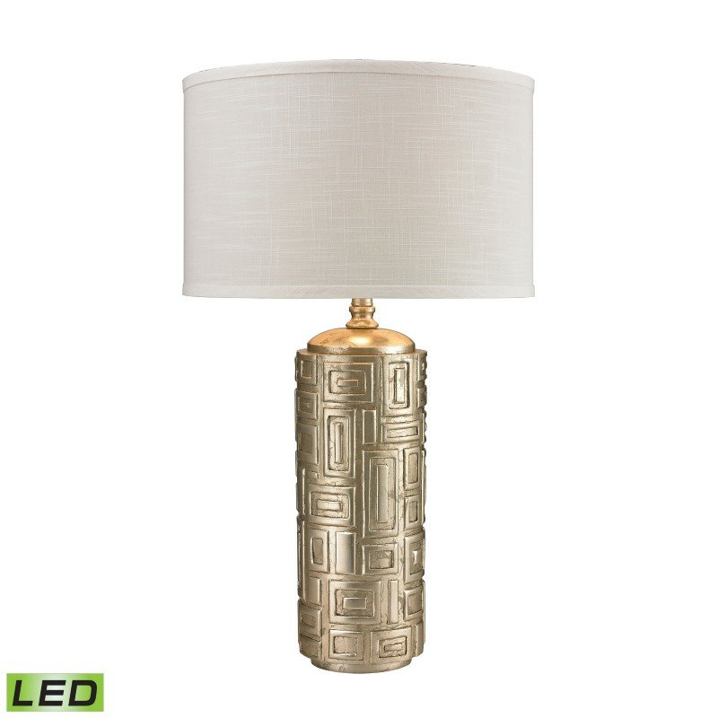 Dimond Lighting Geometric Pattern Drum LED Table Lamp In Silver Leaf (D2723-LED)