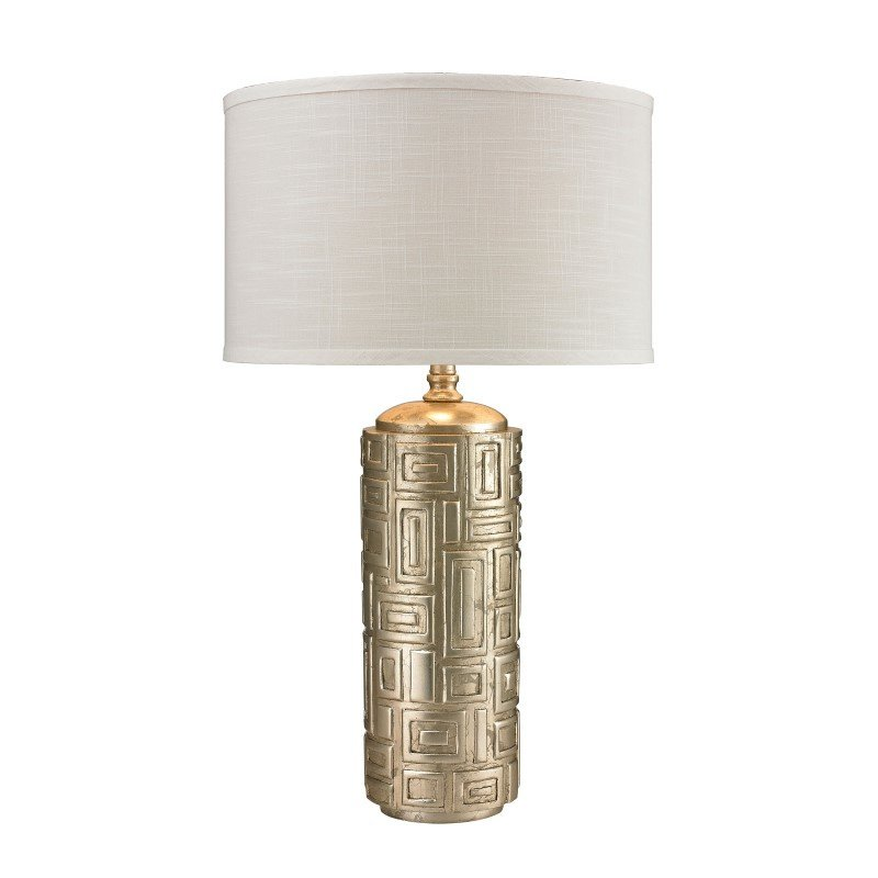Dimond Lighting Geometric Pattern Drum Table Lamp In Silver Leaf (D2723)