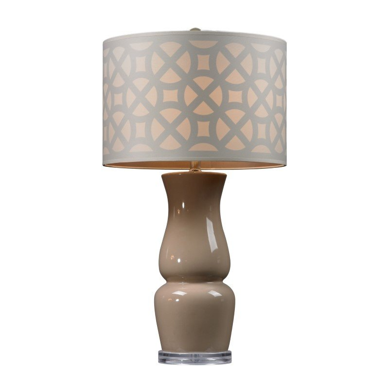 Dimond Lighting Gloss Ceramic Table Lamp in Taupe With Off White Shade (D158)