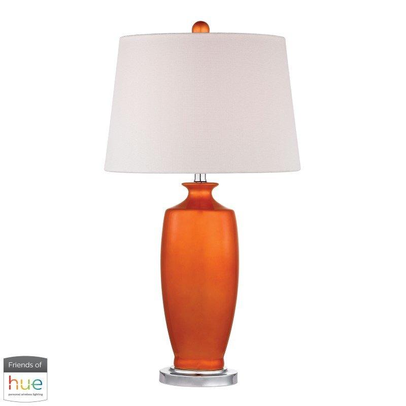 Dimond Lighting Halisham Ceramic Table Lamp in Tangerine Orange with Philips Hue LED Bulb/Bridge (D2512-HUE-B)