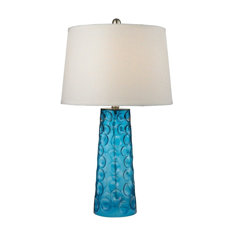 Dimond Lighting Hammered Glass Table Lamp in Blue With Pure White Linen Shade (D2619)