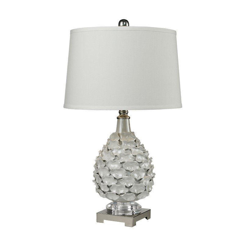 Dimond Lighting Hand Formed Ceramic Table Lamp In White Pearlescent Glaze (D2599)