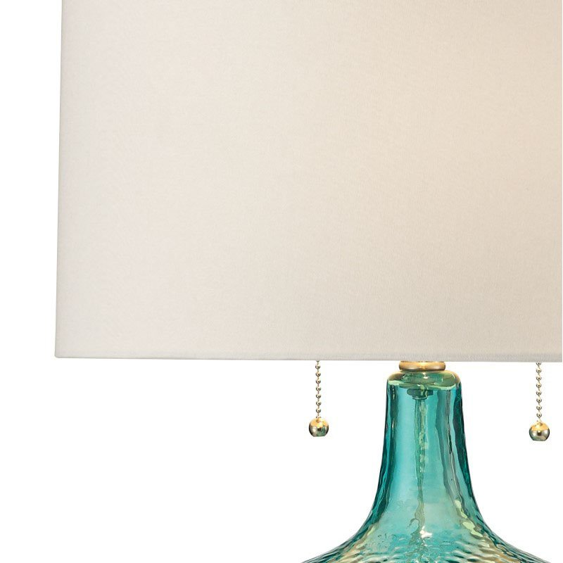 Dimond Lighting Hatteras Hammered Glass Table Lamp in Seabreeze with Philips Hue LED Bulb/Bridge (D2689-HUE-B)