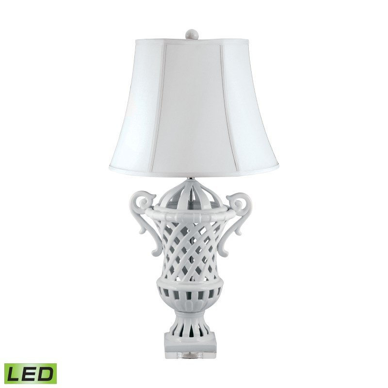 Dimond Lighting Lattice-Handled Ceramic Urn LED Table Lamp in White ( 285-LED)