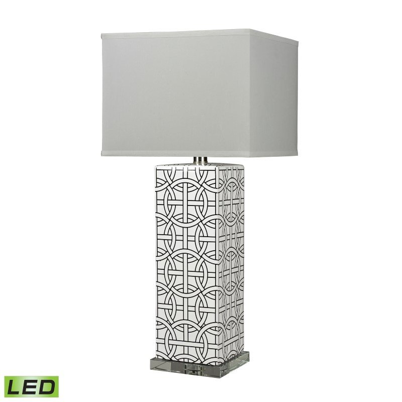 Dimond Lighting Linked Rings Ceramic LED Table Lamp in White and Blue (D314-LED)