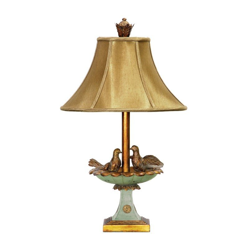 Dimond Lighting Love Birds In Bath Table Lamp in Gold Leaf and Green (91-786)
