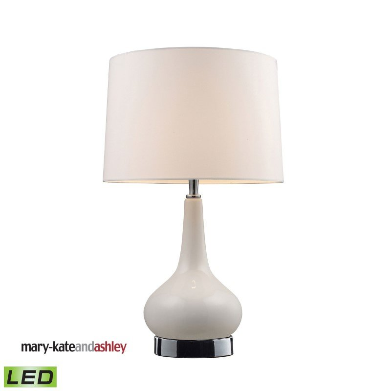 """Dimond Lighting Mary-Kate and Ashley 18"""" Continuum White LED Table Lamp in Chrome (3925/1-LED)"""