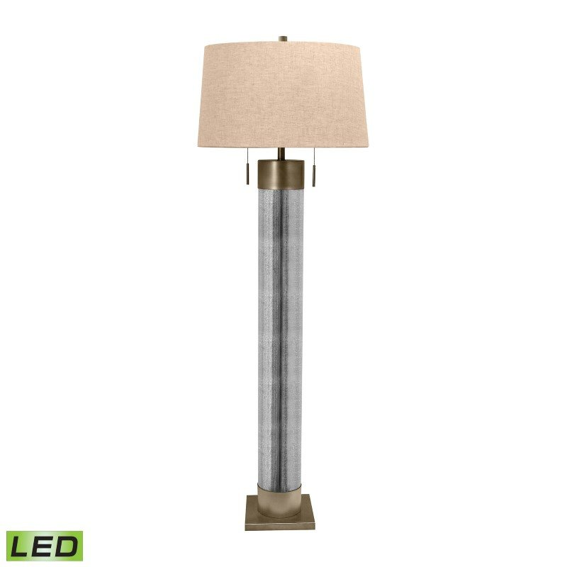 Dimond Lighting Mercury Glass Cylinder LED Floor Lamp with Antiqued Brass Accents ( 290-LED)