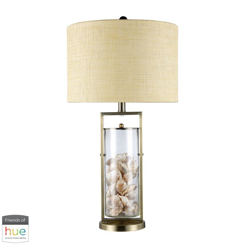 Dimond Lighting Millisle Table Lamp in Antique Brass and Clear Glass with Shells with Philips Hue LED Bulb/Bridge (D1978-HUE-B)