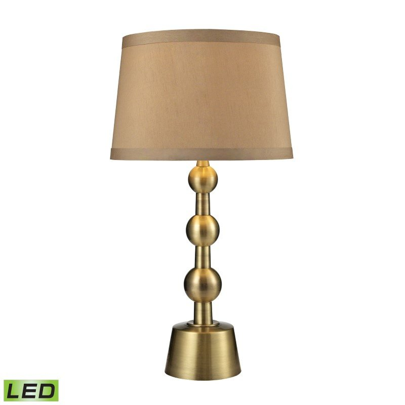 Dimond Lighting Montpelier LED Table Lamp in Aged Brass With Light Taupe Shade (D2697-LED)
