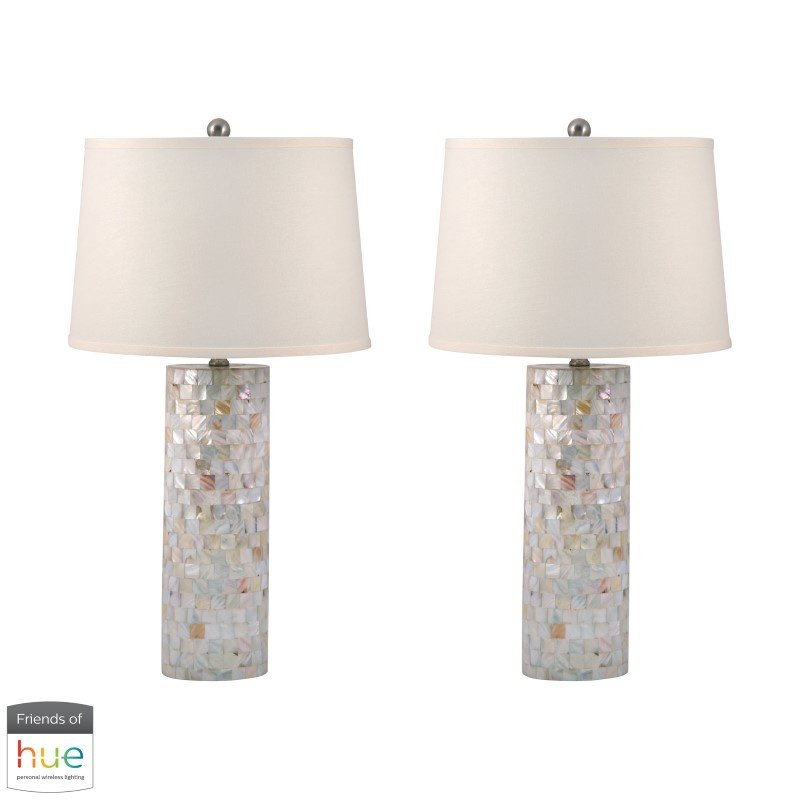 Dimond Lighting Mother of Pearl Cylinder Table Lamp with Philips Hue LED Bulb/Bridge - Set of 2 (812/S2-HUE-B)