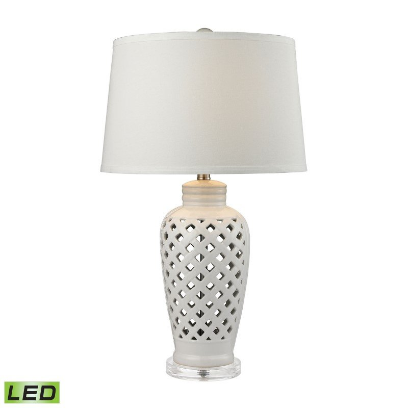 Dimond Lighting Openwork Ceramic LED Table Lamp in White With White Shade (D2621-LED)
