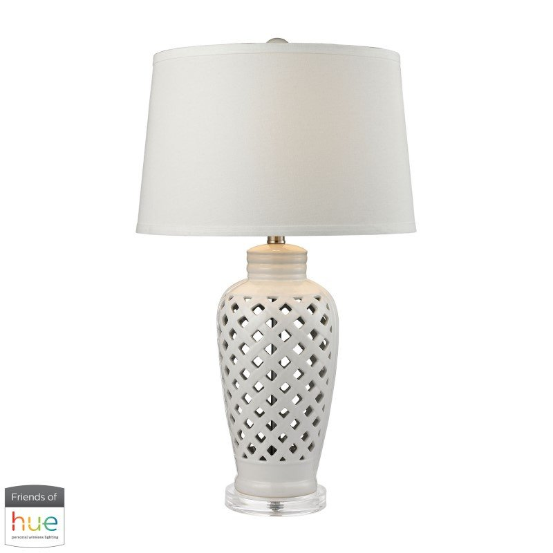 Dimond Lighting Openwork Ceramic Table Lamp in White with White Shade with Philips Hue LED Bulb/Dimmer (D2621-HUE-D)