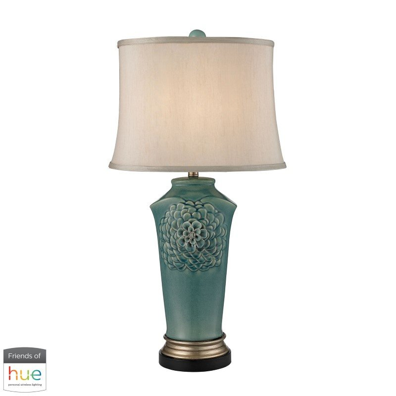 Dimond Lighting Organic Flowers Table Lamp in Seafoam Finish with Philips Hue LED Bulb/Dimmer (D2626-HUE-D)