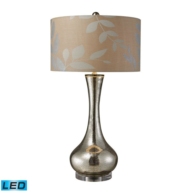 Dimond Lighting Orion LED Table Lamp In Antique Mercury Blown Glass With Metallic Print On Cream Linen Shade And Cream Fabric Liner (D1883-LED)