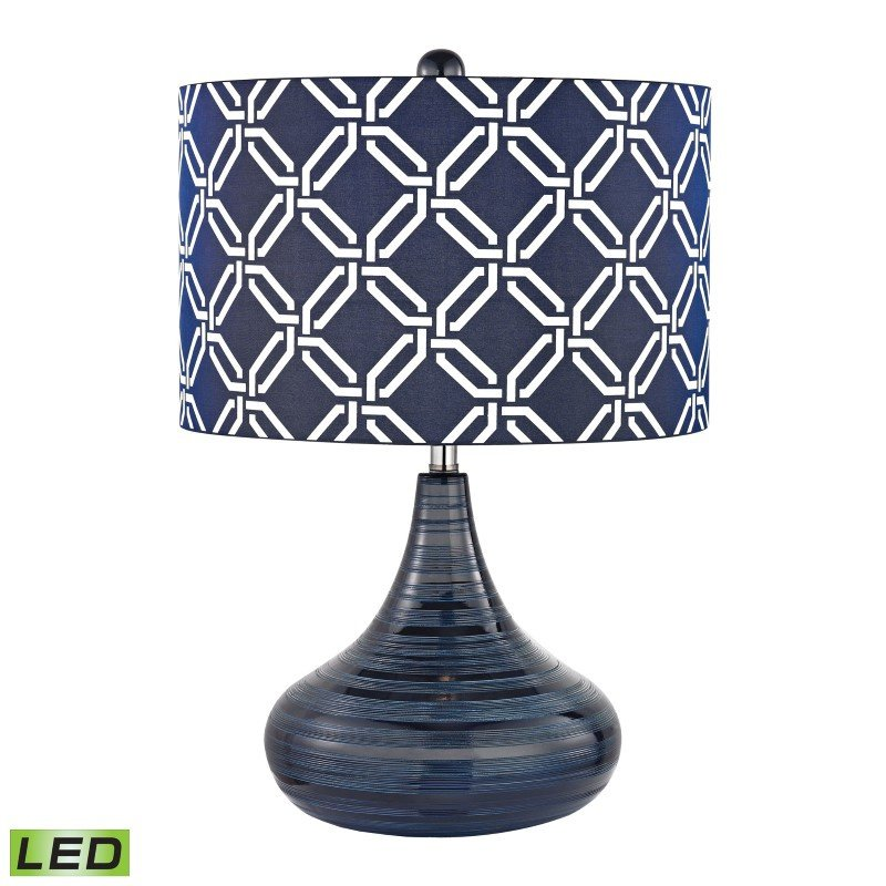 Dimond Lighting Peebles Ceramic LED Table Lamp In Navy Blue With Printed Shade (D2519-LED)