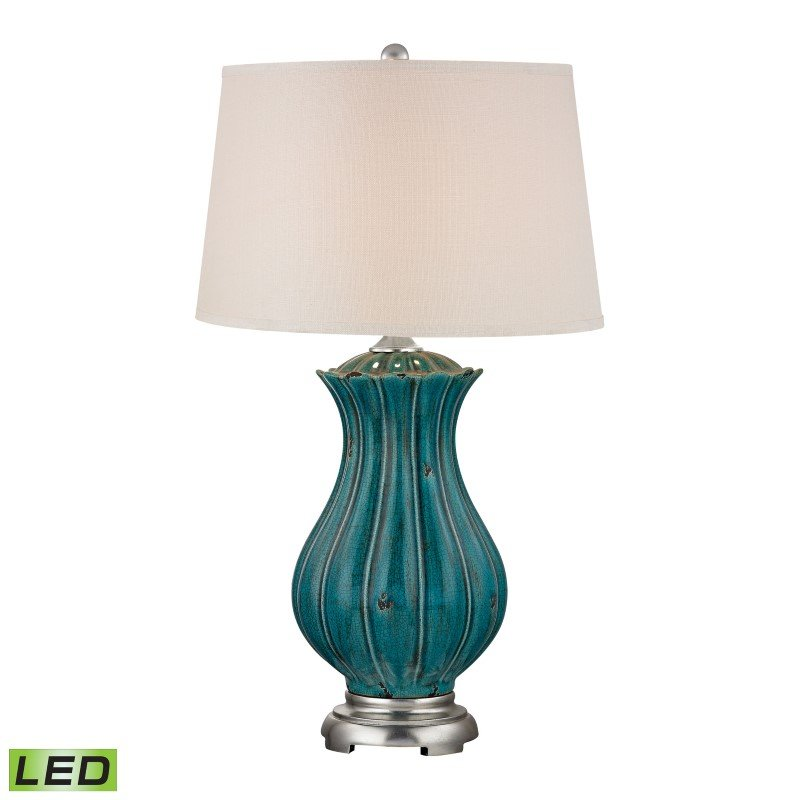 Dimond Lighting Pewsey Oversized Ceramic LED Table Lamp In Distressed Dark Teal (D2453-LED)