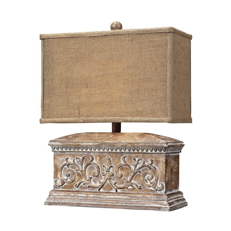 Dimond Lighting Pinder Distressed Table Lamp in Corbel Finish With Burlap Shade (93-10026)