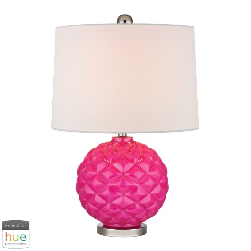 Dimond Lighting Pink Pop Glass Accent Lamp in Hot Pink with Philips Hue LED Bulb/Bridge (D353-HUE-B)
