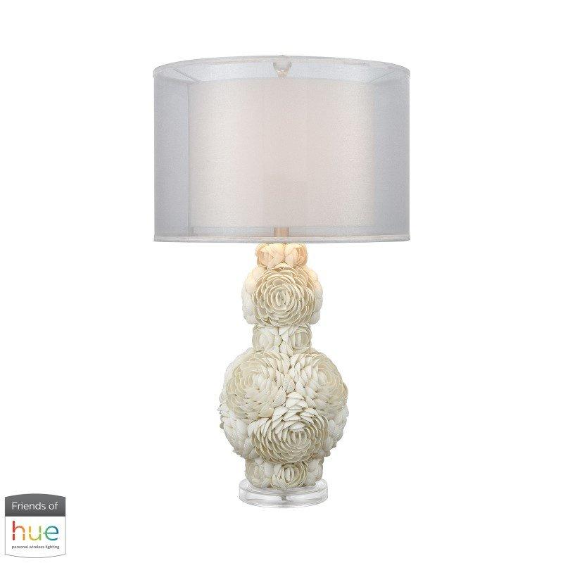 Dimond Lighting Portonovo White Table Lamp with Philips Hue LED Bulb/Bridge (D3424-HUE-B)
