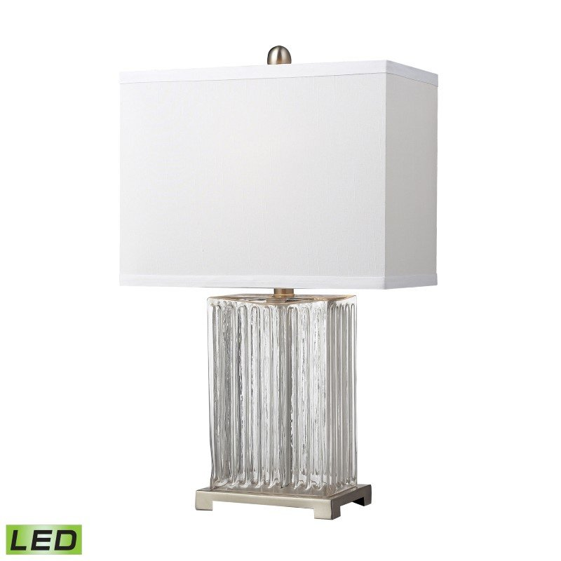 Dimond Lighting Ribbed Clear Glass LED Table Lamp in Brushed Steel (D140-LED)